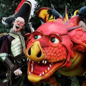 Mythical dragon street theatre act