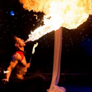 Spectacular fire show. Click for video.