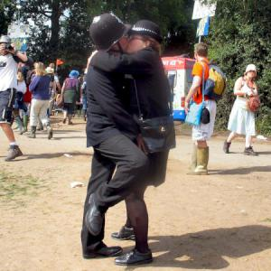 Kissing Policemen street theatre act