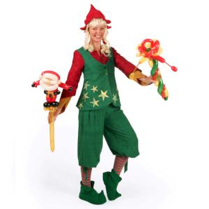 Christmas balloon modelling- elf with Santa balloon