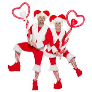 Red and White Santa's helpers balloon modelling