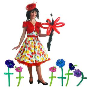 Flower Girl themed balloon modelling