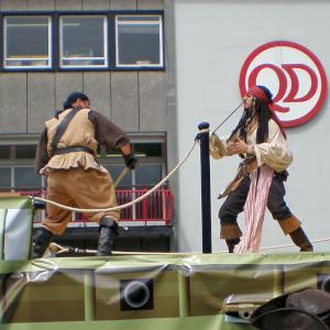 pirate character actors in hand to hand combat stunt performance